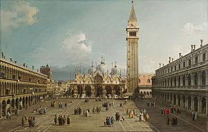 piazza san marco with the basilicaby canaletto 1730 fogg art museum cambridge